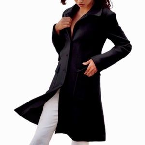 Black Moda International Long Wool Dress Coat